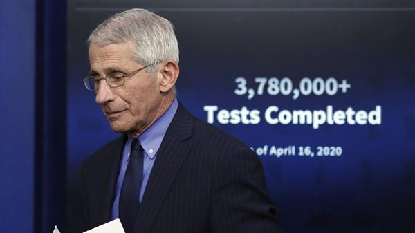 Fauci says reopening U.S. too soon could lead to needless deaths