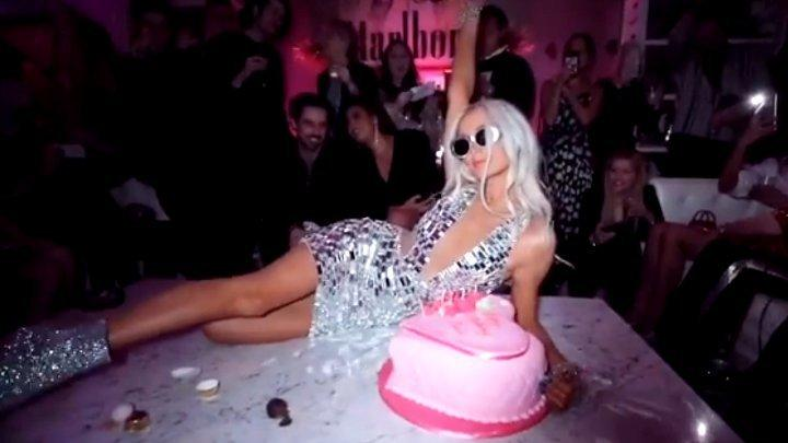 Sensational Paris Hilton Destroys Her 38Th Birthday Cake While Passionately Personalised Birthday Cards Veneteletsinfo
