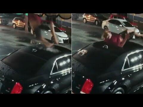 SHOCKING VIDEO: Florida man falls onto parked car, walks away unharmed   ABC7