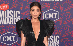 Sarah Hyland Stuns In Deep Cleavage, Black Dress At The CMT Awards