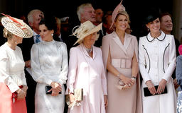 Best photos of Kate Middleton's reunion with Queen Maxima and Queen Letizia at Order of the Garter service