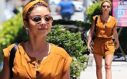 Modern Family's Sarah Hyland goes for leggy look in bronze romper and matching headband on outing in LA