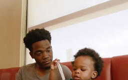 Dad and Baby Son Whose 'Conversation' Video Went Viral Star in Adorable New Ad for Denny's