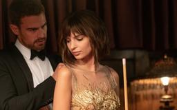 Poster for Lying and Stealing featuring Emily Ratajkowski and Theo James