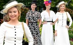 Georgia Toffolo looks ladylike in white jacket and midi skirt alongside Kirsty Gallacher and Jodie Kidd as she leads the star-studded Royal Ascot 2019 arrivals