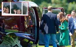 Royal cuties: George, Charlotte and Louis rush to welcome William and Kate off helicopter