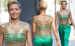 Jada Pinkett Smith, 47, shows off her ageless physique in edgy bralet with racy chainmail top as she sashays into Jimmy Kimmel Live