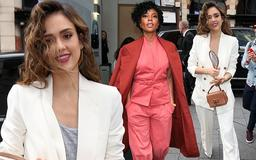 Jessica Alba exudes elegance with curly tresses and white trouser suit as she joins glamorous L.A.'s Finest co-star Gabrielle Union in London