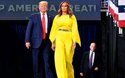 Melania puts her best foot forward in striking yellow jumpsuit as Donald Trump kicks off re-election campaign at Orlando