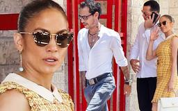 Jennifer Lopez is joined by fiance Alex Rodriguez as she reunites with her ex-husband Marc Anthony at kids school function