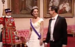 Kate Middleton Wore a White Alexander McQueen Gown With Her Tiara for the Queen's State Banquet for Trump