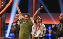 Chrissy Teigen Shows A LOT of Leg In Sparkly Mini Dress on Family Feud