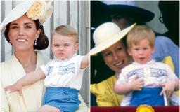 Prince Louis wore the same outfit for his royal balcony debut as Prince Harry did more than 30 years ago