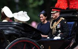 Prince Harry, Meghan attend military parade to honor Queen Elizabeth