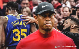 Tiger Woods reacts to Warriors star Kevin Durant's Achilles injury