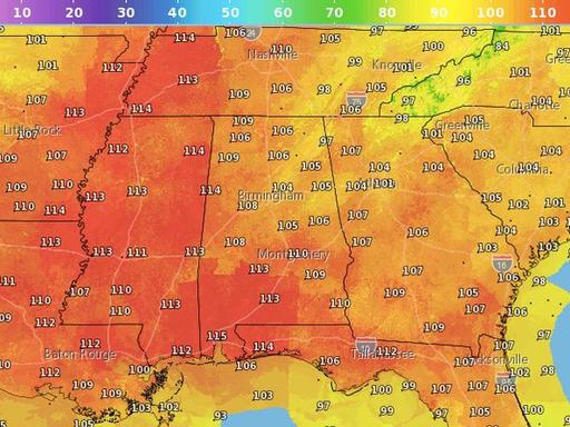 Just how hot will it feel in Alabama today? Excessive heat