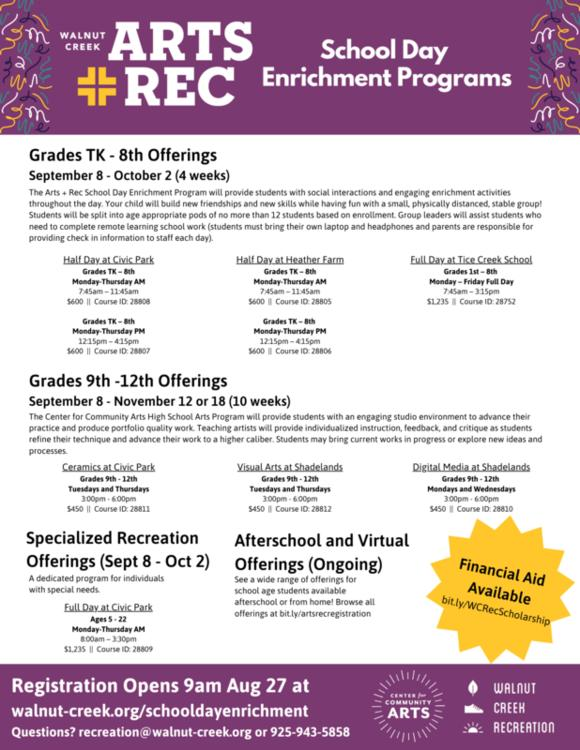 Walnut Creek School District Calendar 2021-22 Full Day and Half Day Enrichment Programs Available for Grades TK