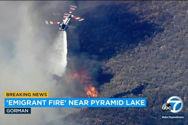 Picture for 220-acre brush fire burns near Pyramid Lake, 5 Freeway