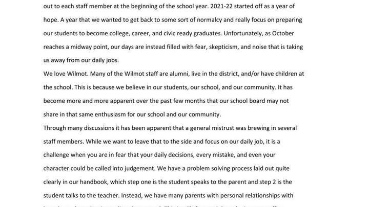 "Cover for Wilmot Union High School teachers, staff majority casts vote of no confidence in School Board; Board President blames morale issues on 'outside agitators"""