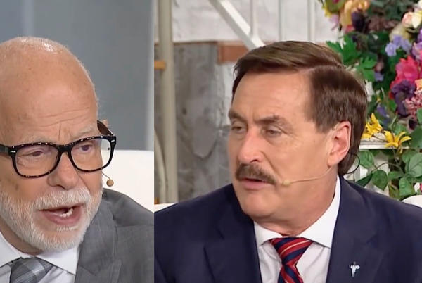 """Picture for Mike Lindell and Jim Bakker join forces to peddle """"Children's Bible Pillows"""" to help them fight the Devil"""