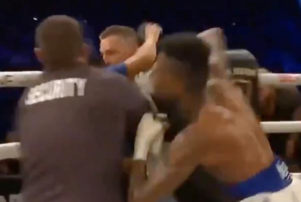Picture for BKFC 19 video: Blueface gets into post-fight brawl with fan jumping into the ring after winning boxing match