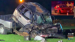 Cover for Pickup violently overturns in serious t-bone crash; Cab separates from chassis, closing down intersection of Campbell Parkway Neighborhood