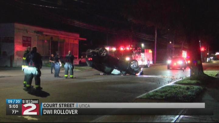Cover for Driver charged with DWI following rollover crash in Utica