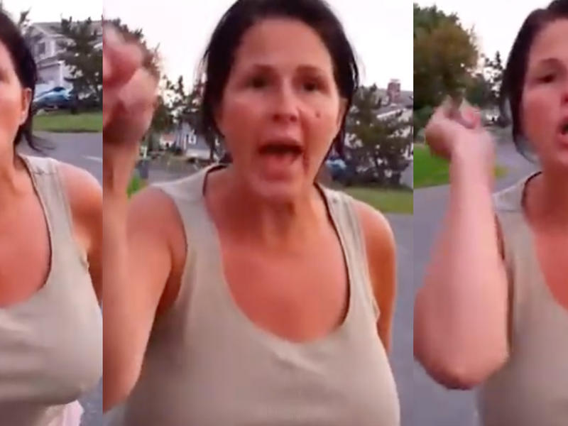 'Karen' proudly doxes herself while being filmed harassing a Hispanic man   News Break