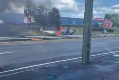 Picture for VIDEO: Bystanders pull victims out of burning car after rollover crash in West Springfield