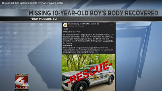 """Picture for 10-year-old boy drowns after saving his little sister from the Big Sioux River: """"He went out as a hero"""""""