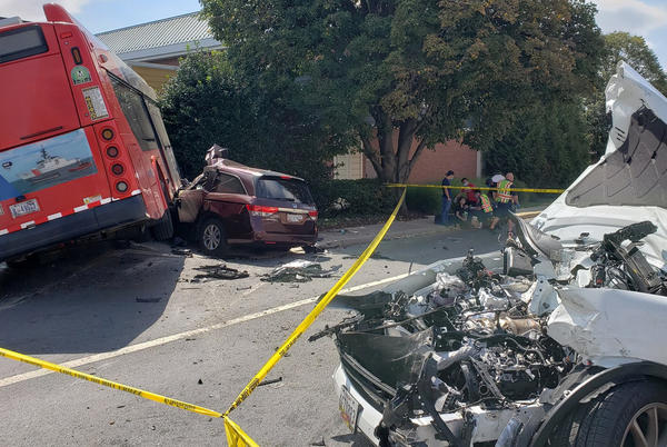 Picture for Multiple people injured as Metrobus crashes into cars on Rockville Pike