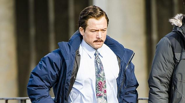 Picture for Taron Egerton sports a moustache and grey suit as he transforms into game developer Henk Rogers while shooting new film Tetris in Aberdeen