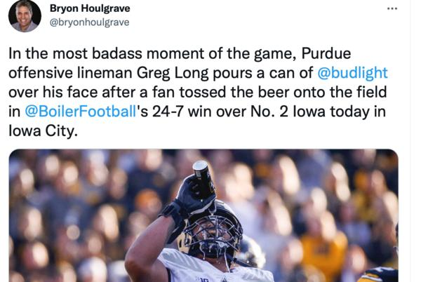 Picture for 'In the most badass moment of the game' Purdue lineman douses himself in celebratory beer