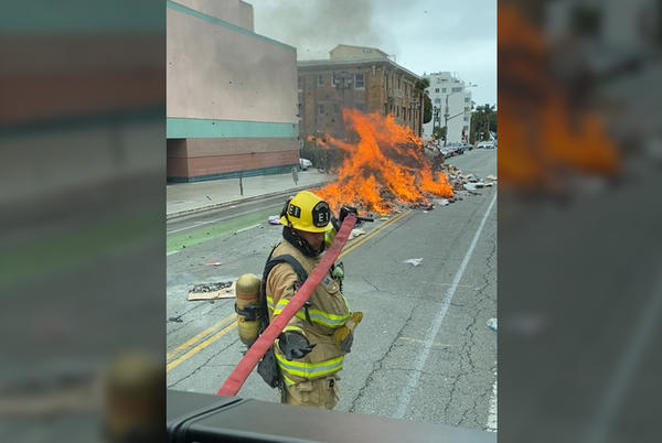 Picture for City Garbage Truck Catches on Fire in Downtown