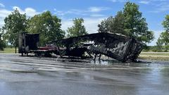 Cover for Tractor-trailer burns on Route 81