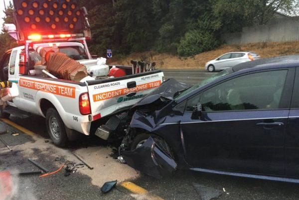 Picture for WSDOT worker's truck hit in I-5 crash