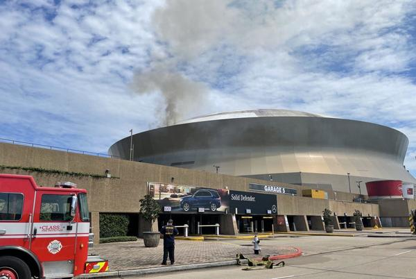 Picture for Caesars Superdome roof catches fire as crews clean, injuring one; see photos, video