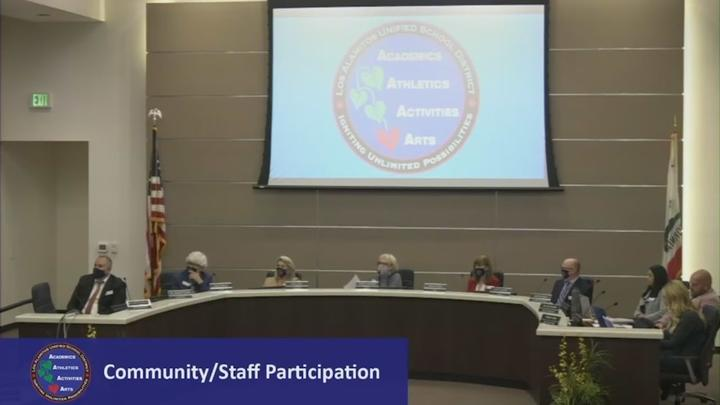 Cover for Los Alamitos School Board president apologizes after disparaging remark caught on 'hot mic'