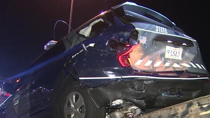 Cover for Trooper hospitalized following crash involving state police cruiser in Worcester