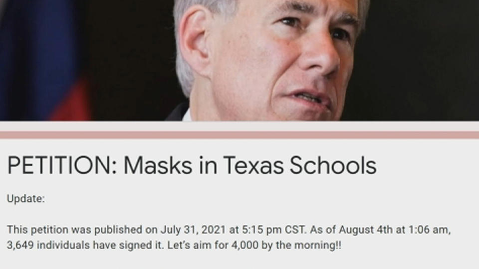 Picture for Petition calls for Gov. Abbott to reverse banning Texas schools from requiring masks