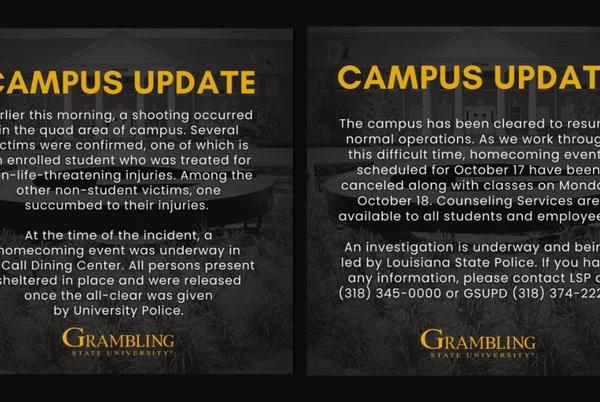 Picture for 1 dead & 7 injured amid another campus shooting at Grambling State,  Homecoming events canceled