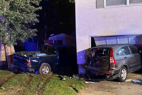 Picture for Crash sends two cars into manchester home