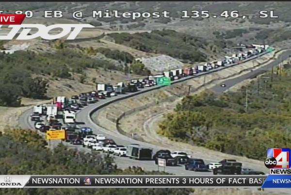 Picture for UPDATE: Lanes reopened after semi-truck rollover crash in Parley's Canyon