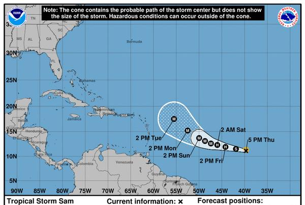 Picture for Tropical Storm Sam forms in the Atlantic. It's expected to be a Cat 3 by the weekend