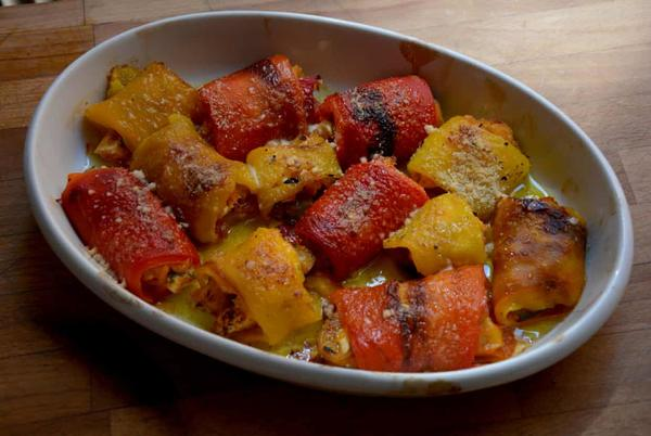 Picture for Rachel Roddy's recipe for stuffed red pepper rolls