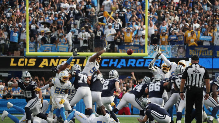 Cover for Cowboys Survive the L.A. Chargers 20 to 17 with Game Ending 56 Yard Field Goal.