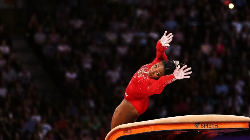 Picture for Simone Biles says she still gets nervous every time she attempts her mind-boggling Yurchenko double pike vault