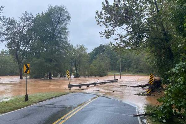 Picture for At least two drivers rescued in Anderson County after parts of road wash away in rain