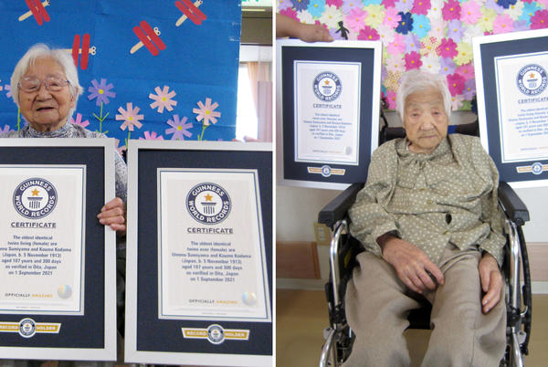 Picture for Japanese sisters certified as world's oldest twins at 107