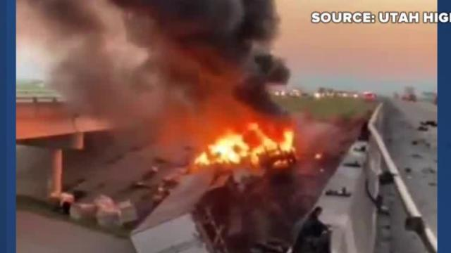 Picture for Truck goes over I-15 guardrail in Utah, catches fire below